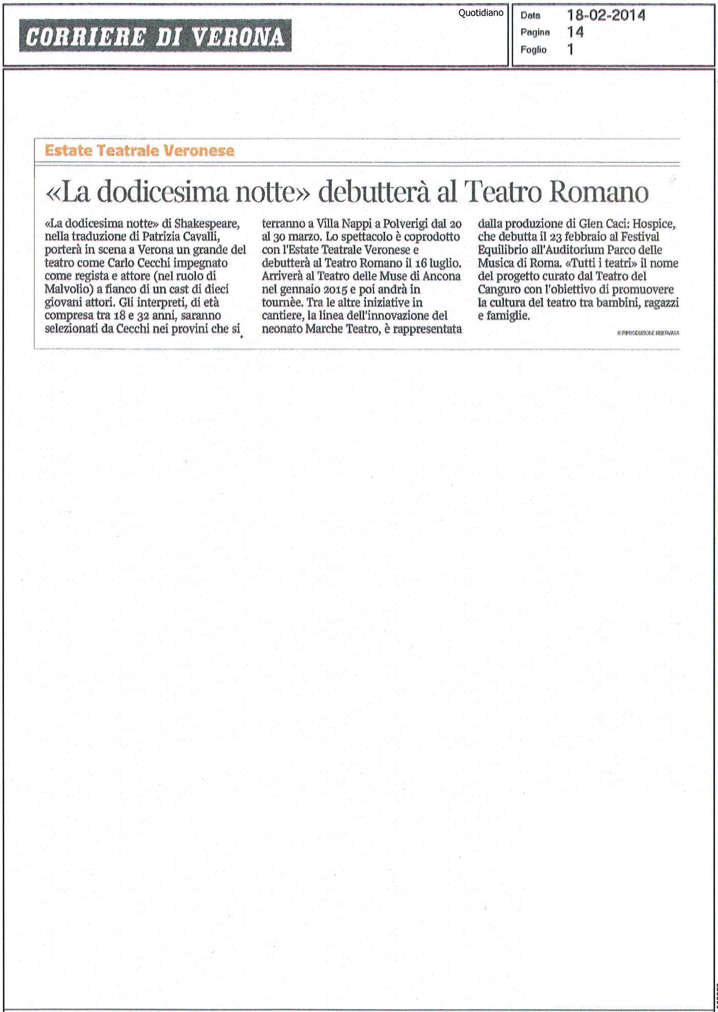 2014.02.18 'La dodicesima notte' debutterà al Teatro Romano - Corriere di Verona