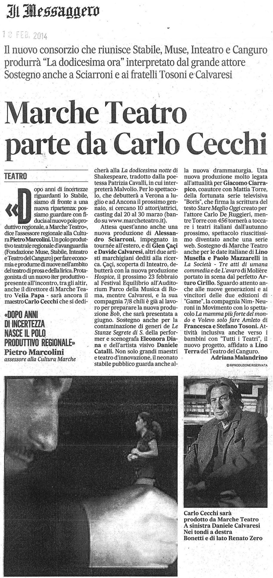 2014.02.18 marche teatro parte da carlo cecchi - il messaggero