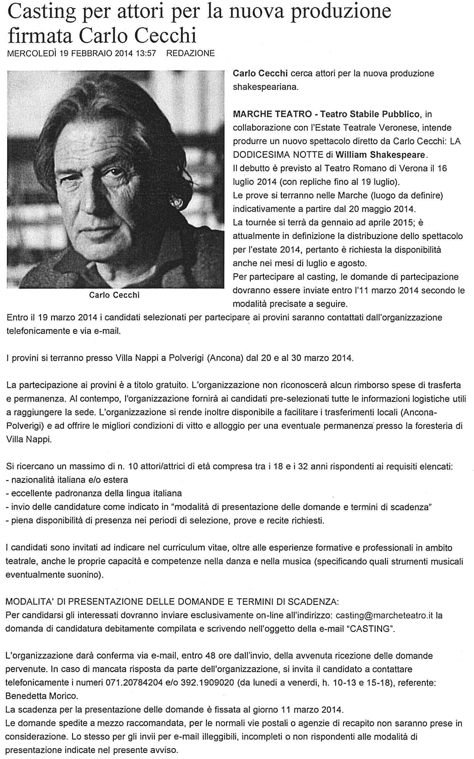 2014.02.19 Casting per attori per la nuova produzione firmata Carlo Cecchi - amediagroup.it
