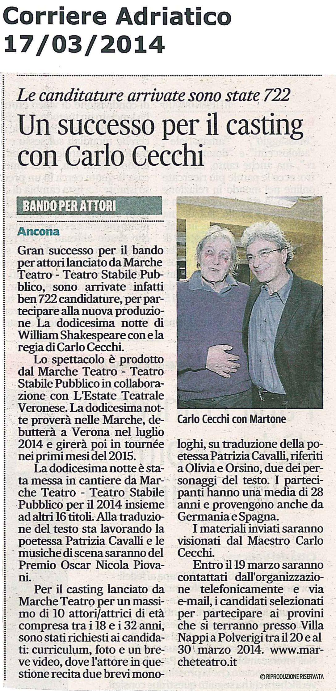 2014.03.17 Un successo per il casting con Carlo Cecchi - Corriere Adriatico
