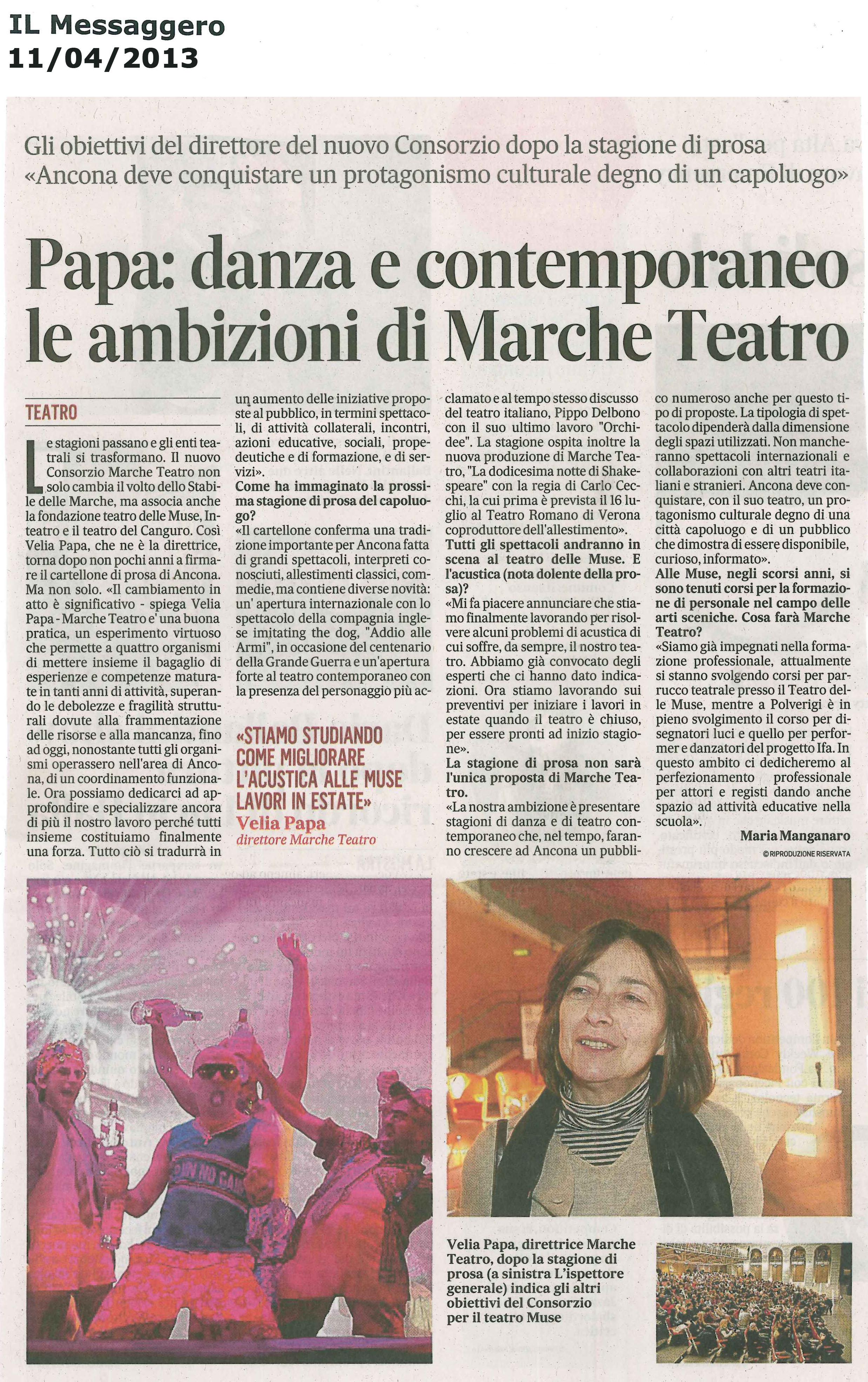 2014.04.11 Danza e contemporaneo le ambizioni di Marche Teatro - Il Messaggero