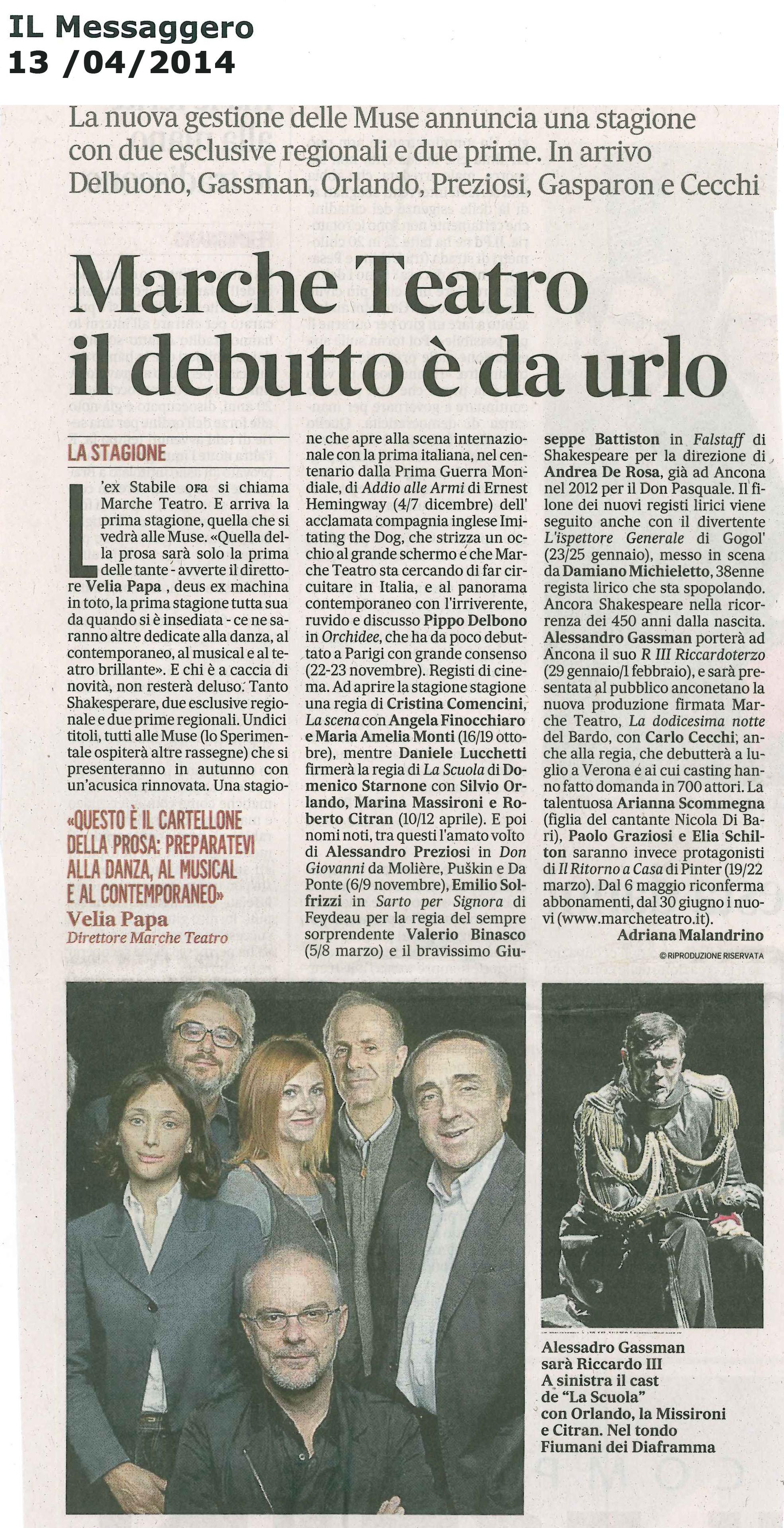 2014.04.13 Marche Teatro il debutto è da urlo - Il Messaggero