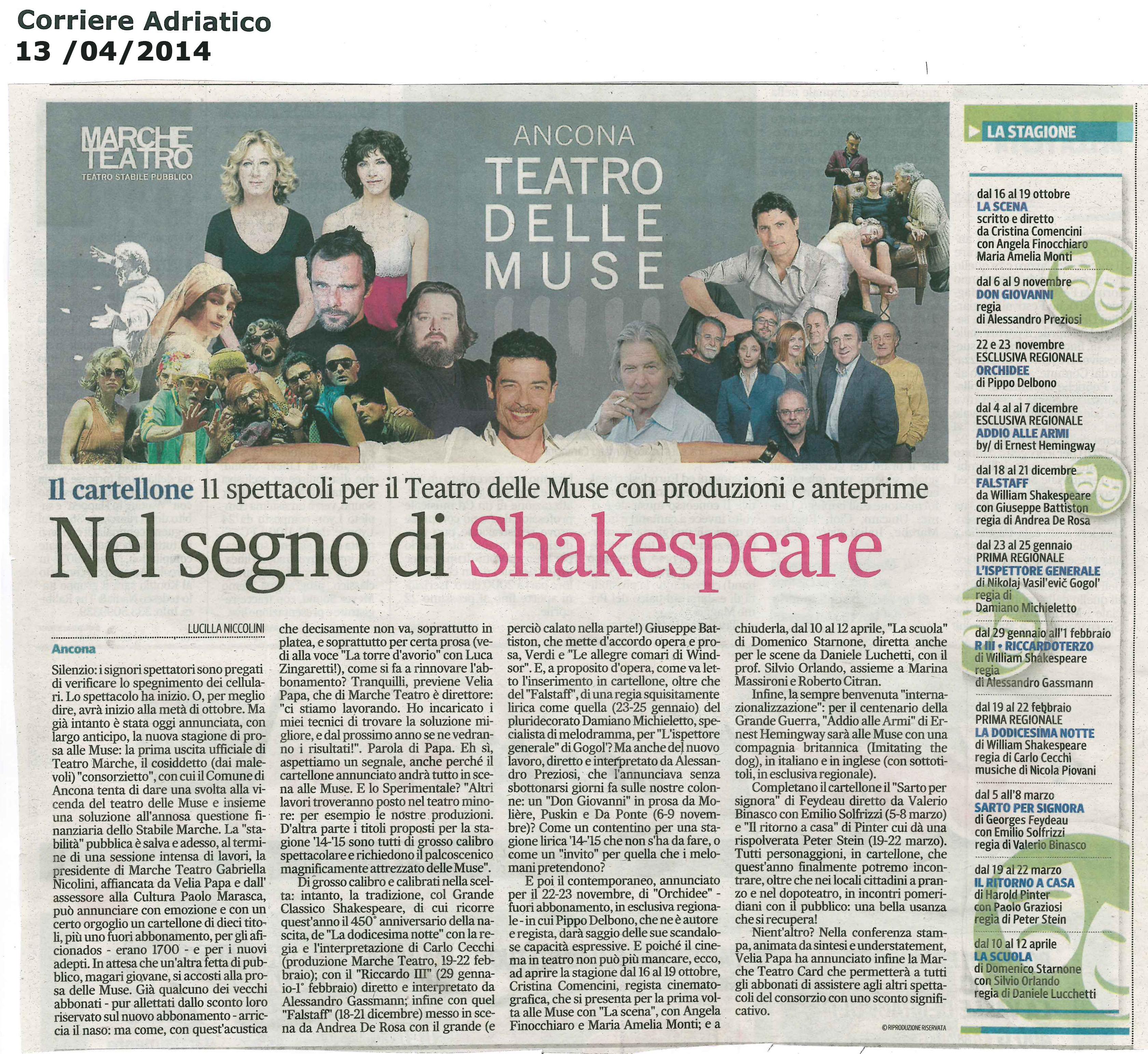 2014.04.13 Nel segno di Shakespeare - Corriere Adriatico