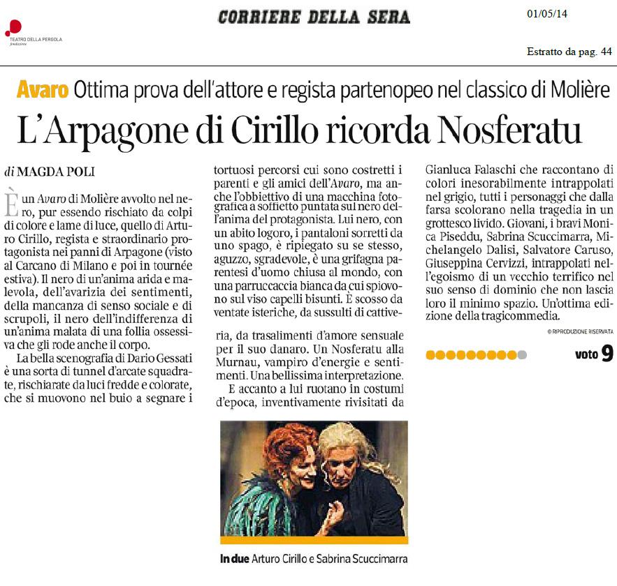2014.05.01 L'Arpagone di Cirillo ricorda Nosferatu - Corriere della Sera