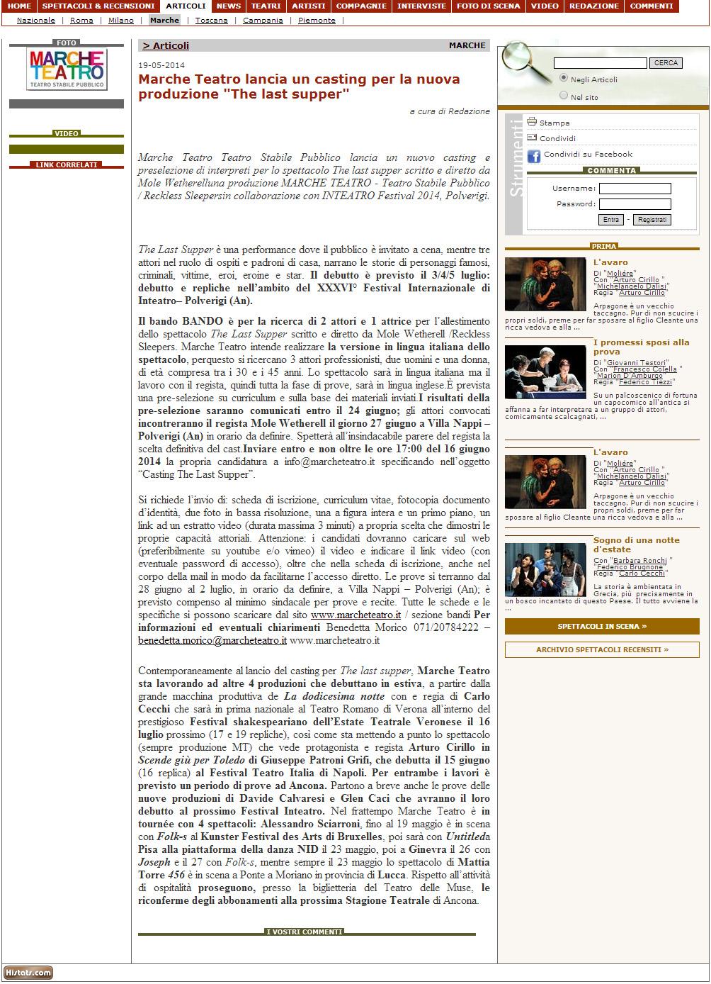 2014.05.19 Marche Teatro lancia un casting per la nuova produzione 'The last supper' - teatroteatro.it