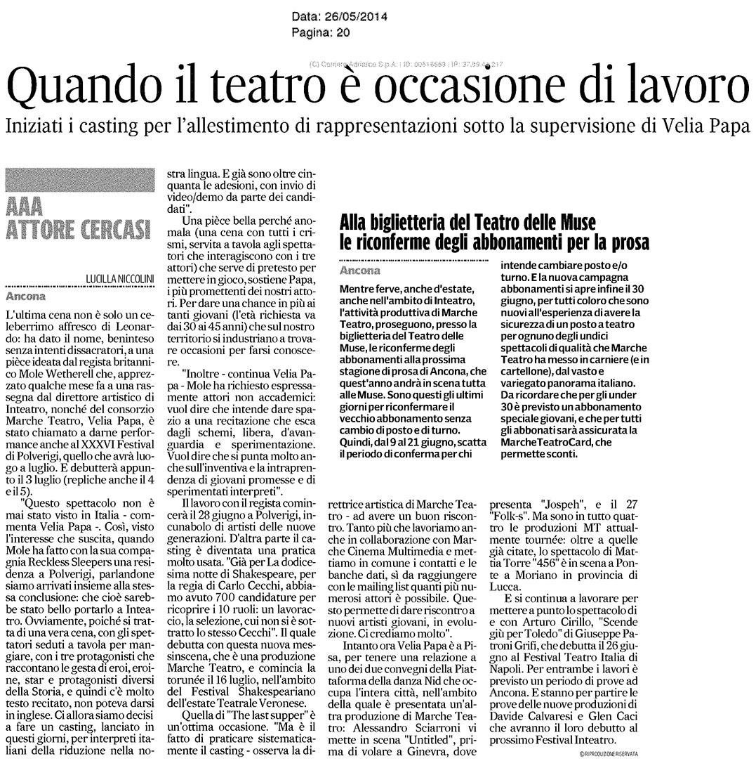 Quando il teatro è occasione di lavoro - Corriere Adriatico