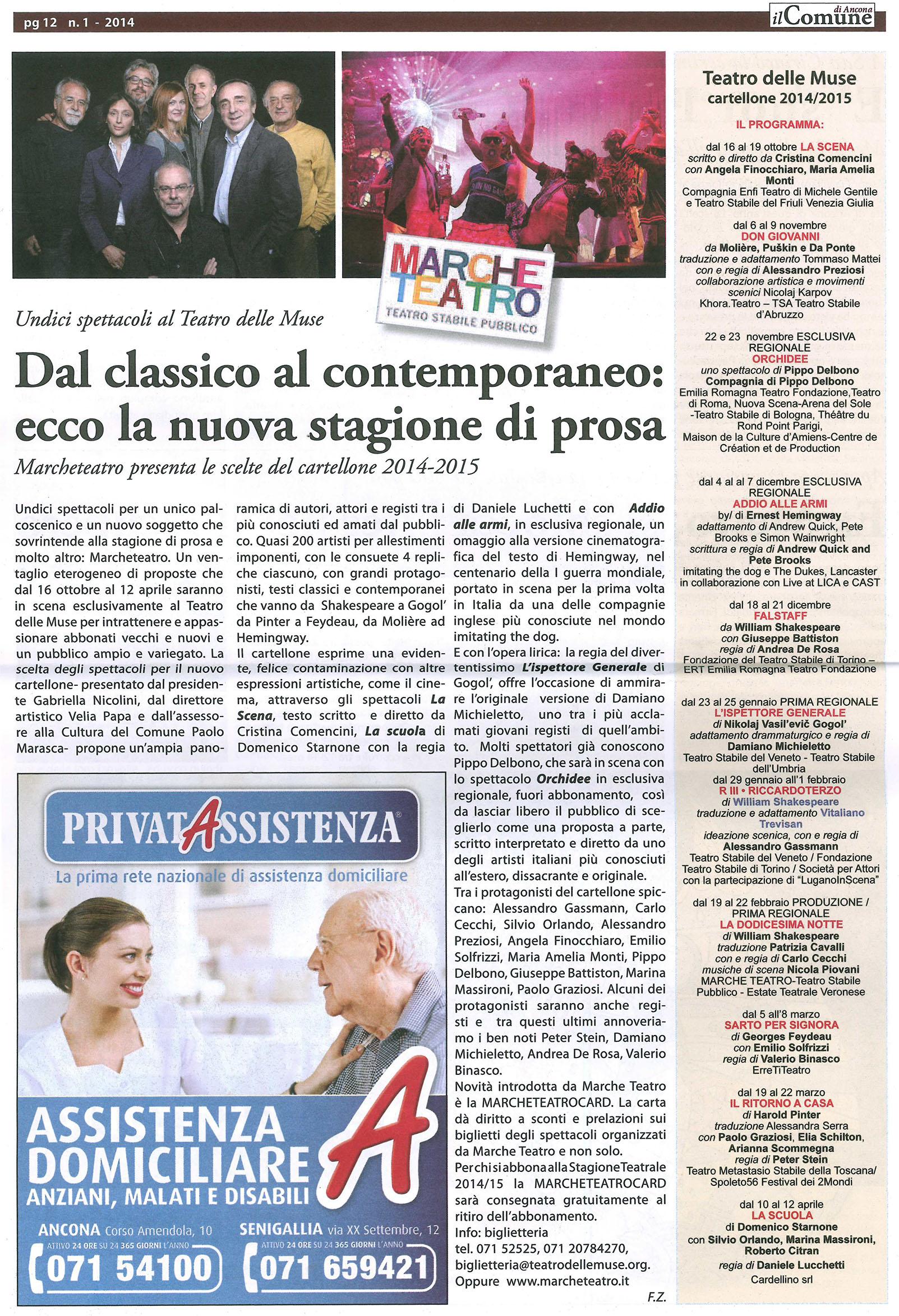 2014.05.30 Dal classico al contemporaneo ecco la snuova stagioen di prosa - Il Comune di Ancona