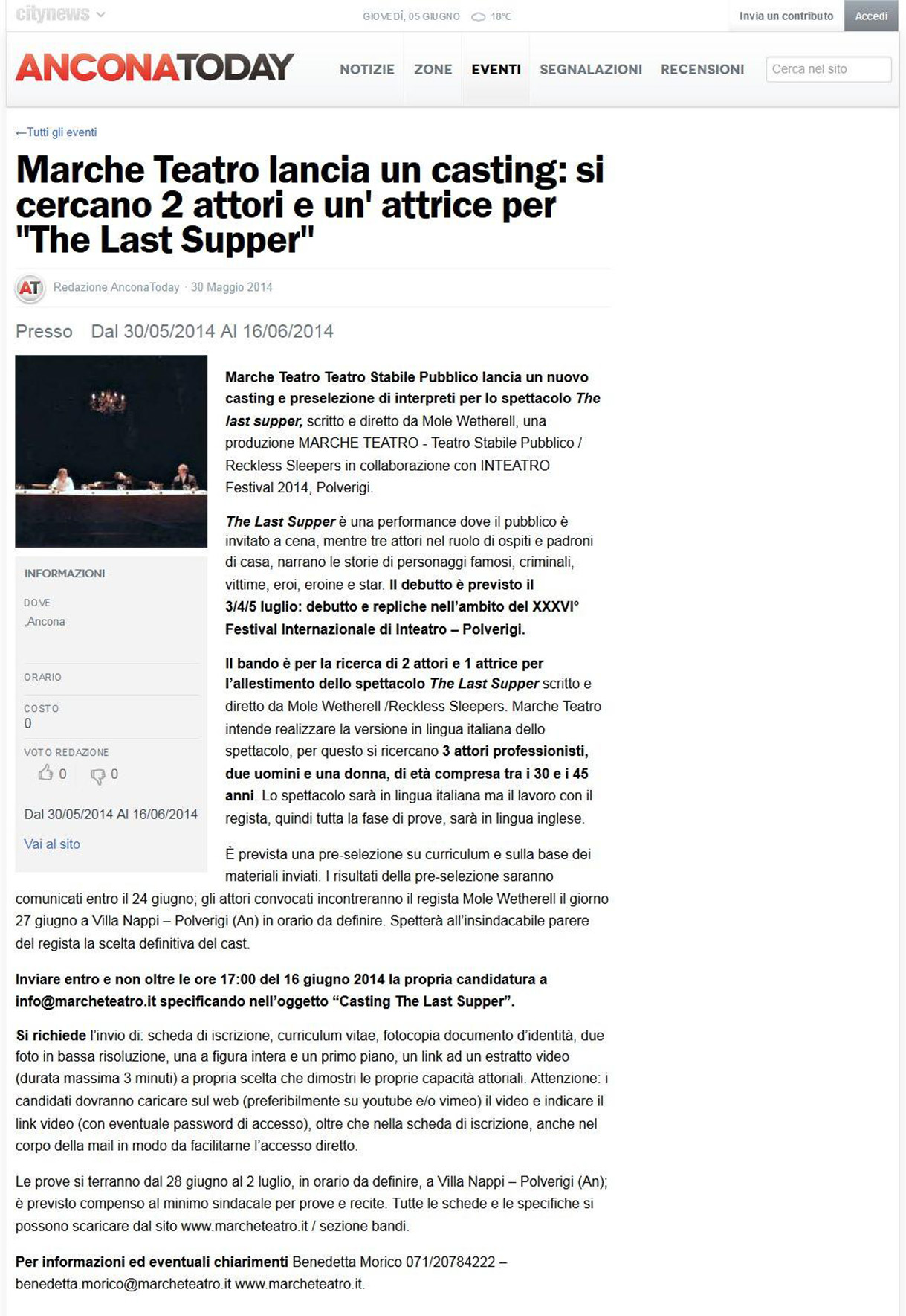2014.05.30 Si cercano 2 attori e un'attrice per 'The Last Supper' - anconatoday.it