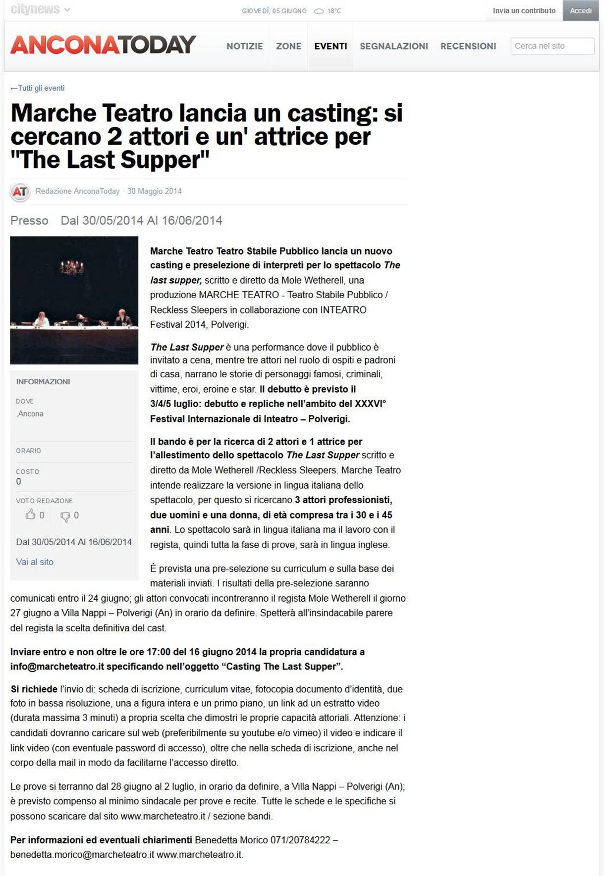 2014.05.30 Si cercano 2 attori e un'attrice per 'The Last Supper' - anconatoday.it