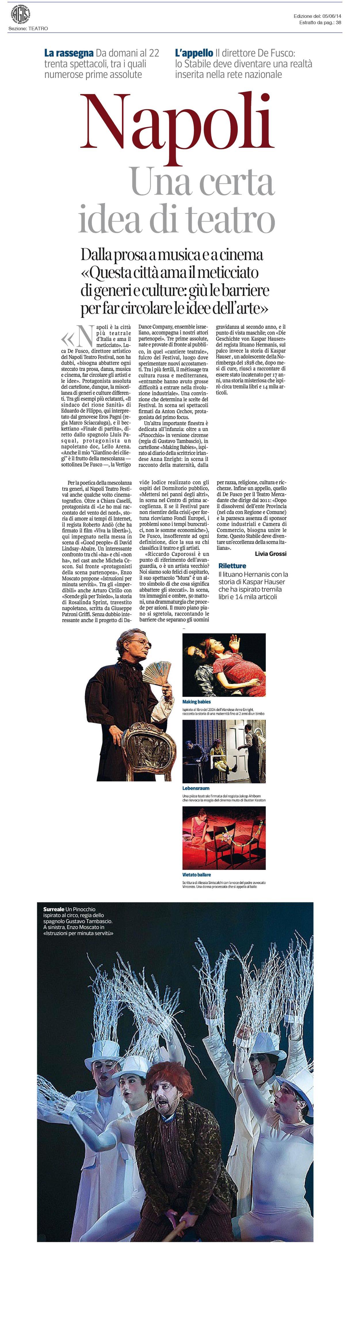 2014.06.05 Napoli una certa idea di teatro - Corriere della Sera