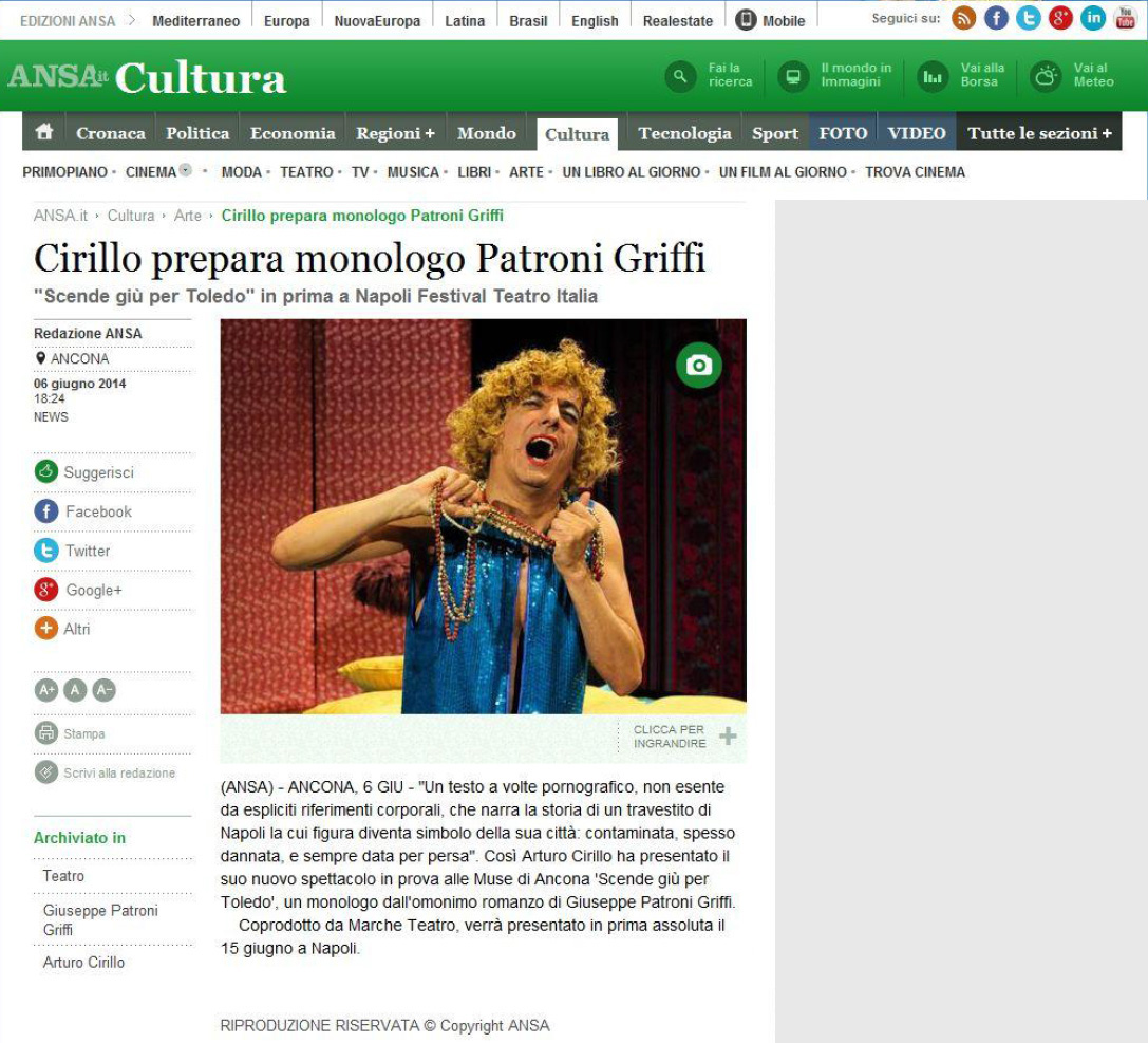 2014.06.06 Cirillo prepara monologo Patroni Griffi - ansa.it