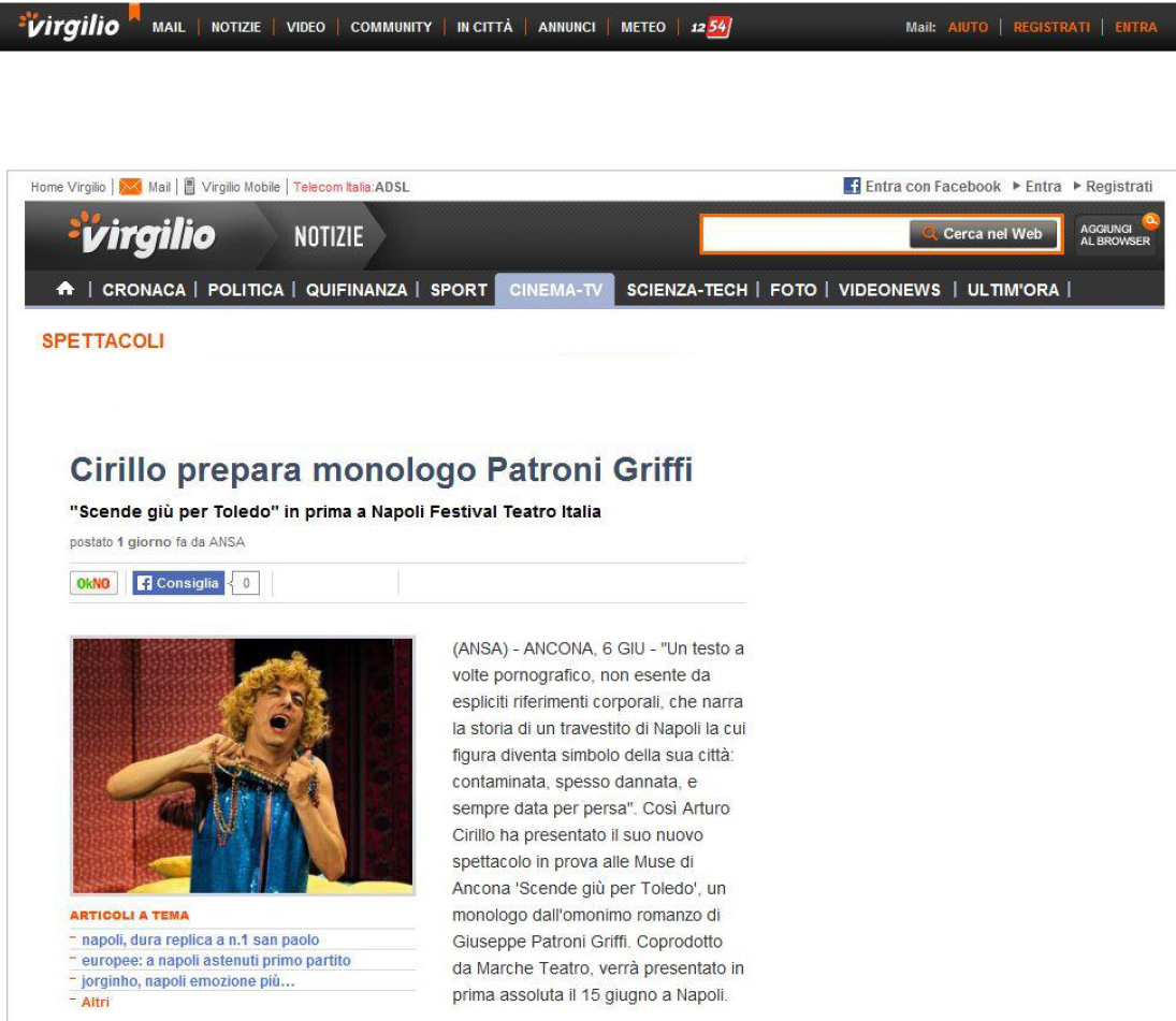 2014.06.07 Cirillo prepara monologo Patroni Griffi - virgilio.it