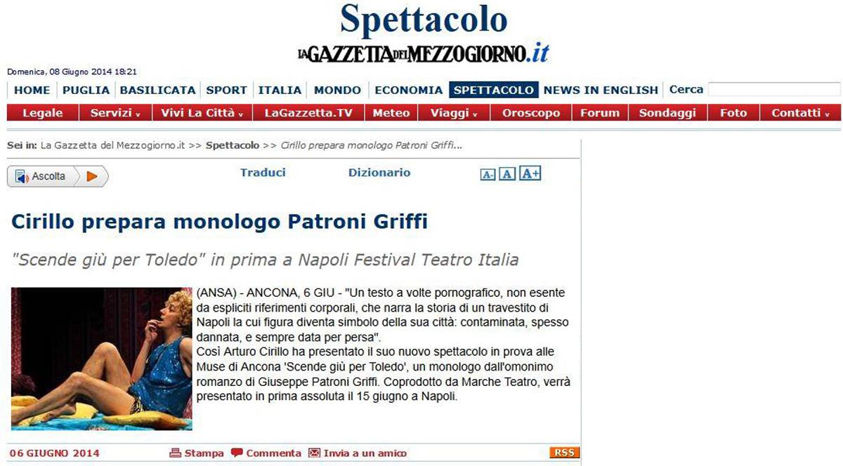 2014.06.08 Cirillo prepara monologo Patroni Griffi - lagazzettadelmezzogiorno.it