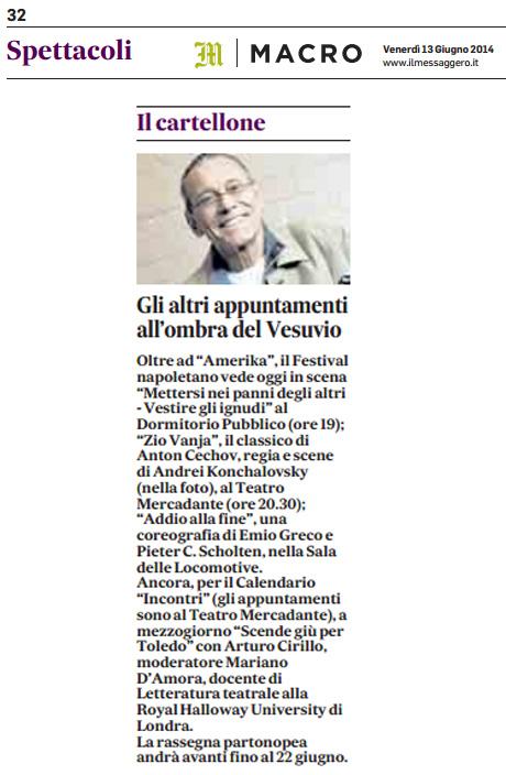 2014.06.13 Gli altri appuntamenti all'ombra del Vesuvio - Il Messaggero