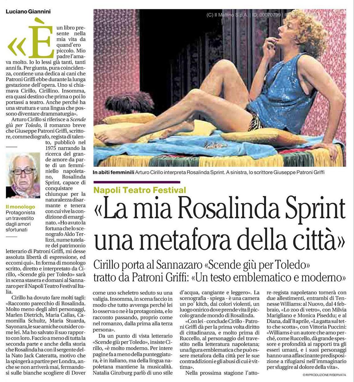 2014.06.15 La mia Rosalinda Sprint una metafora della città - Il Mattino