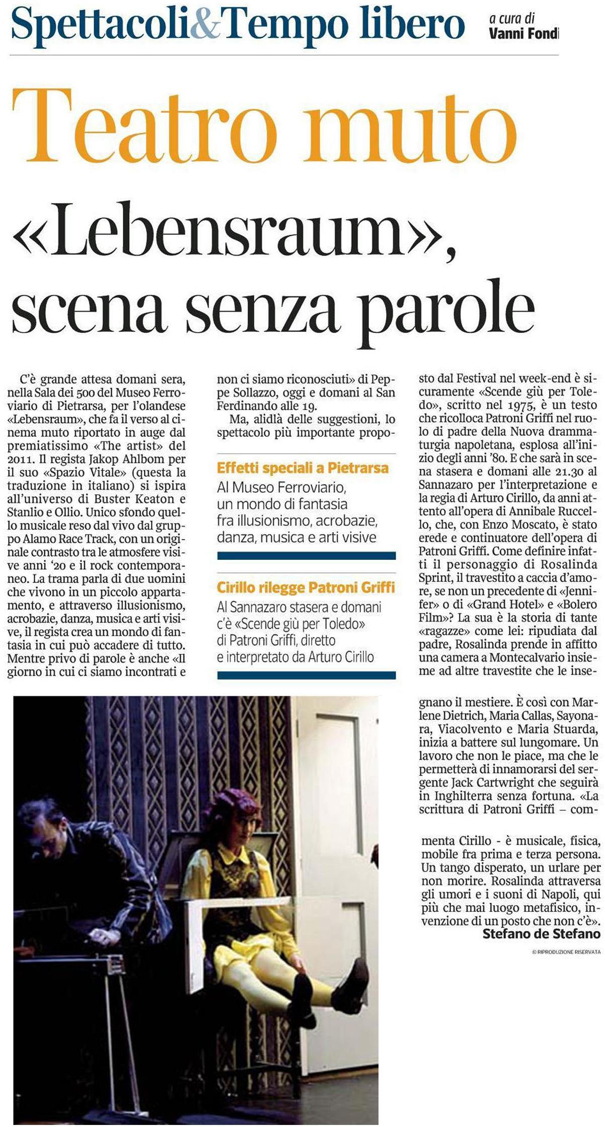 2014.06.15 'Lebensraum' scena senza parole - Corriere del Mezzogiorno