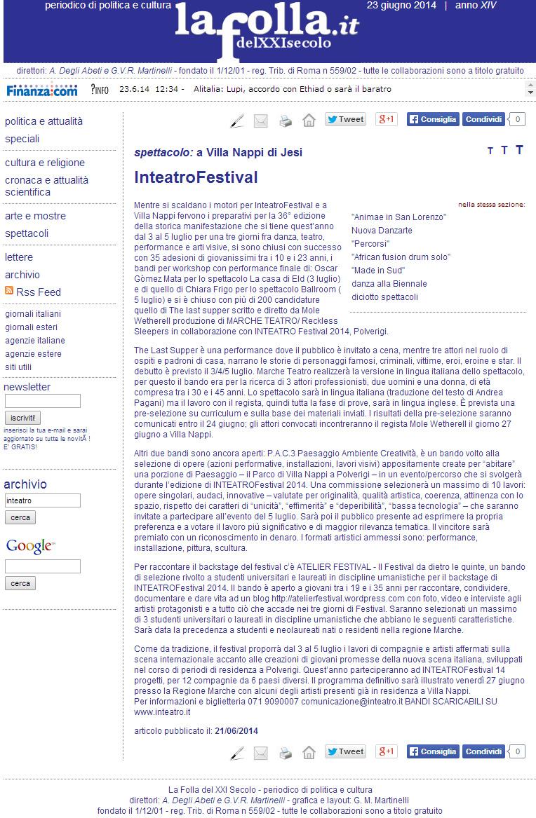 2014.06.21 Inteatrofestival - lafolla.it