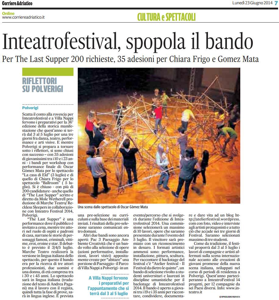 2014.06.23 Inteatrofestival, spopola il bando - Corriere Adriatico