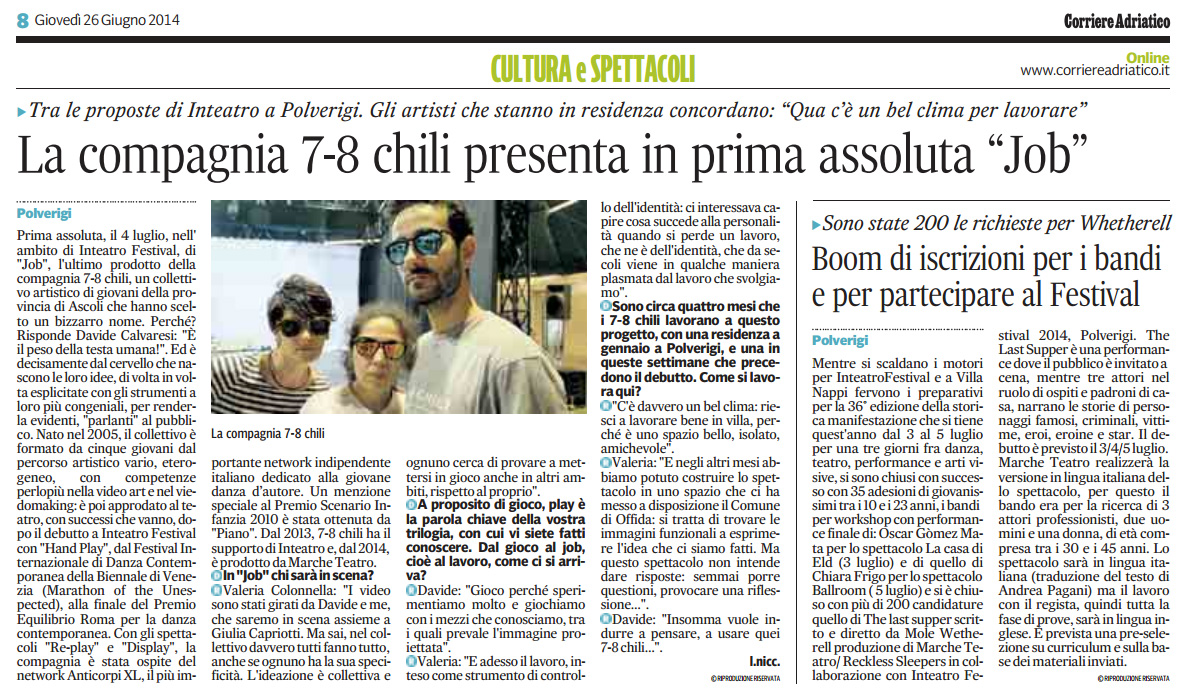 2014.06.26 La compagnia 7-8 chili presenta in prima assoluta 'Job' - Boom di iscrizioni per i bandi - Corriere Adriatico