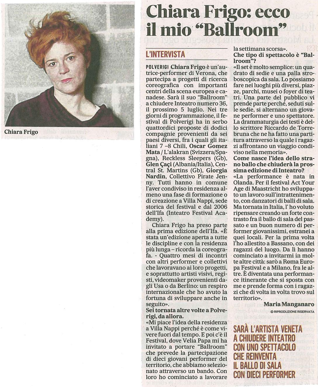 2014.06.24 Chiara Frigo ecco il mio 'Ballroom' - Il Messaggero
