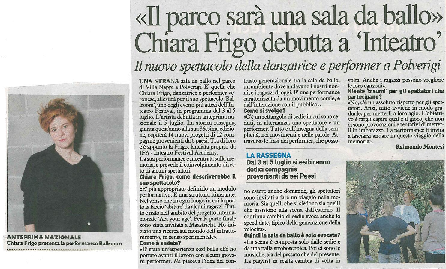 2014.06.25 Chiara Frigo debutta a 'Inteatro' - Il Resto del Carlino