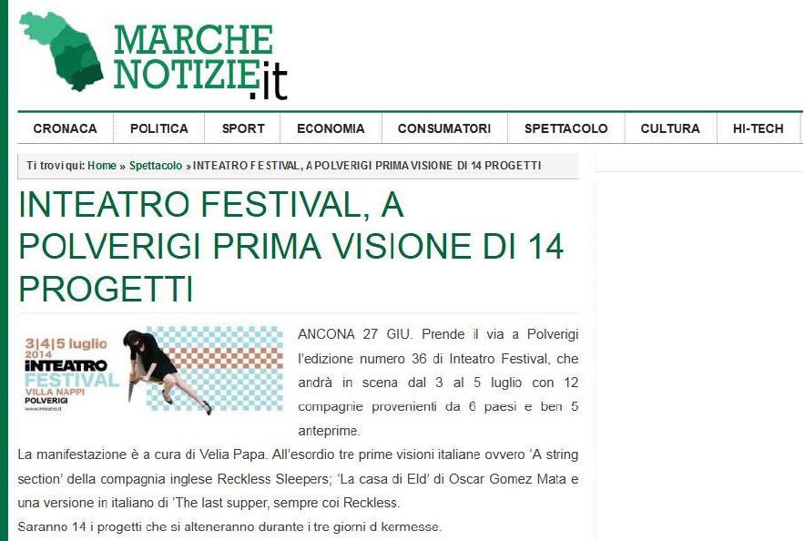 2014.06.27 Inteatro Festival, a Polverigi prima visione di 14 progetti - marchenotizie.it