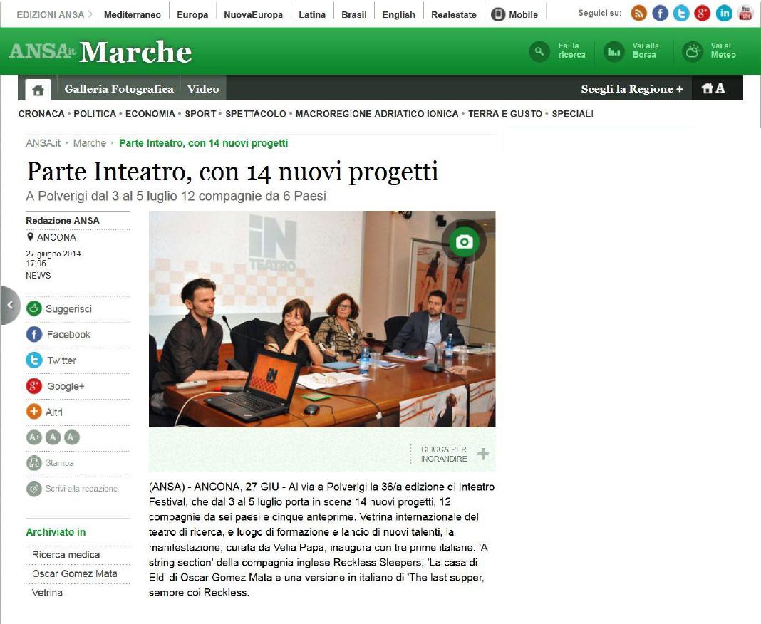 2014.06.27 Parte Inteatro, con 14 nuovi progetti - ansa.it