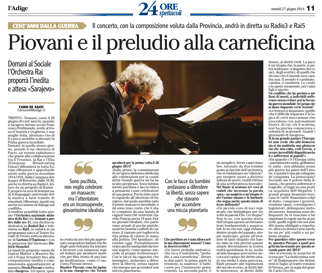 2014.06.27 Piovani e il preludio alla carneficina - L'Adige