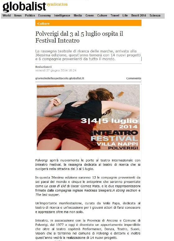 2014.06.27 Polverigi dal 3 al 5 luglio ospita Inteatro Festival - globalist.it