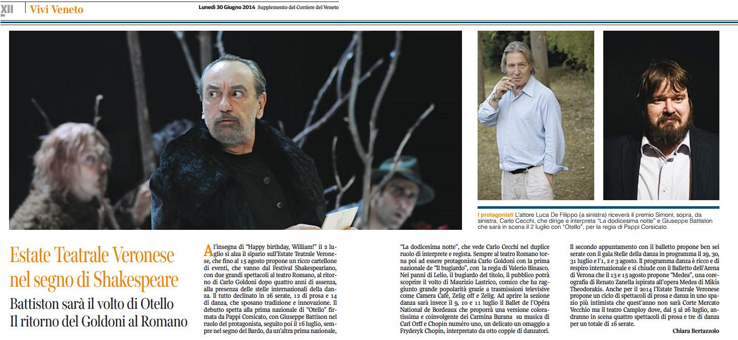 2014.06.30 Estate Teatrale Veronese nel segno di Shakespeare - Corriere del Veneto