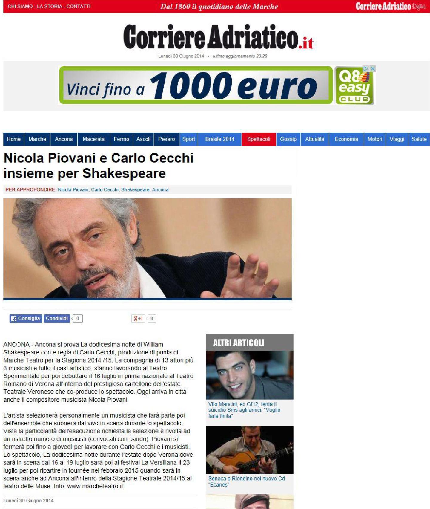 2014.06.30 Nicola Piovani e Carlo Cecchi insieme per Shakespeare - corriereadriatico.it