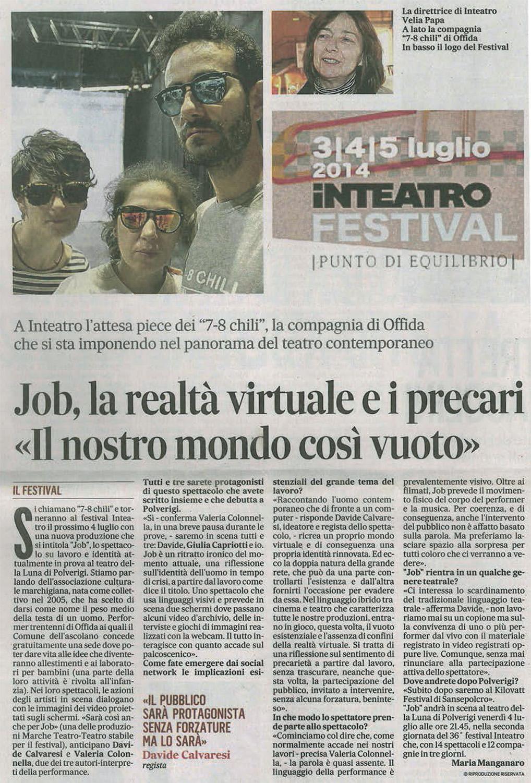 2014.07.01 Job, la realtà virtuale e i precari - Il Messaggero