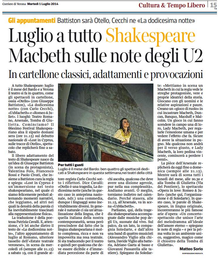 2014.07.01 Luglio a tutto Shakespeare - Corriere di Verona