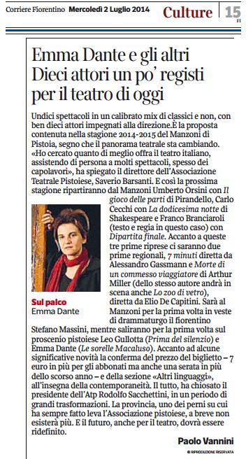 2014.07.02 Dieci attori un po' registi per il teatro di oggi - Corriere Fiorentino