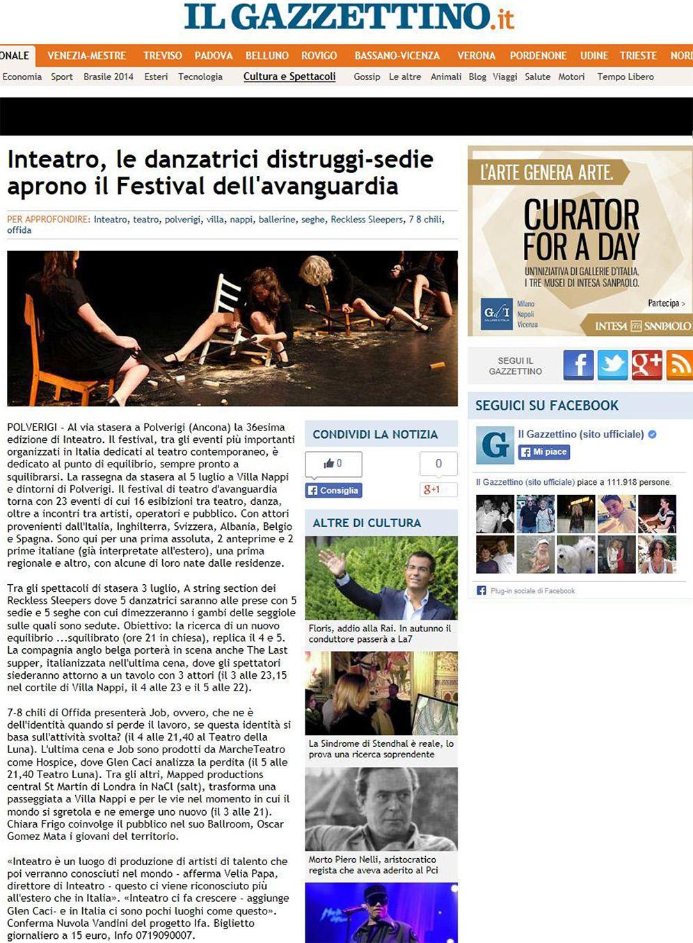 2014.07.03 Inteatro, le danzatrici-distruggitrici aprono il Festival dell'avanguardia - ilgazzettino.it