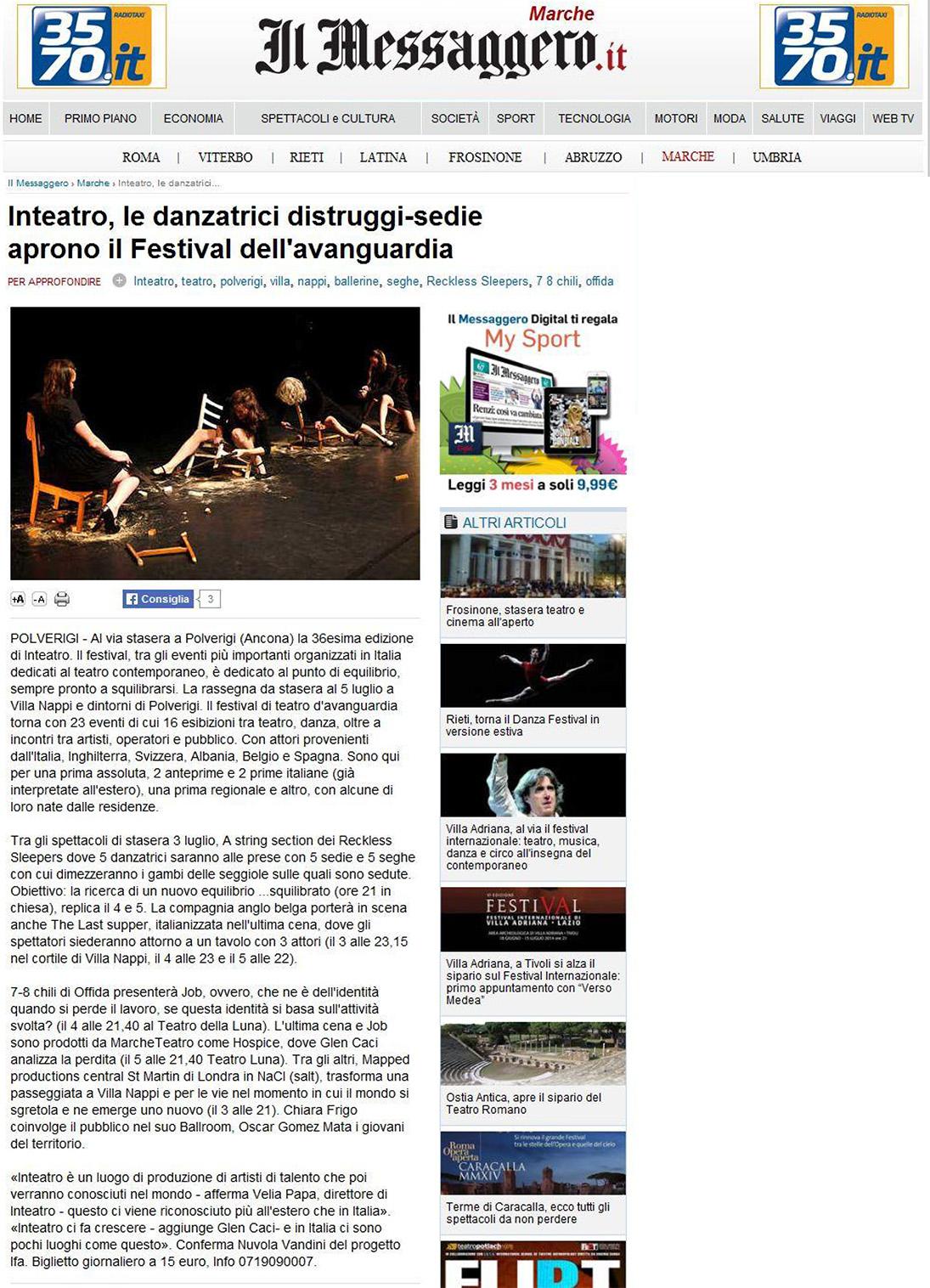 2014.07.03 Inteatro, le danzatrici-distruggitrici aprono il Festival dell'avanguardia - ilmessaggero.it