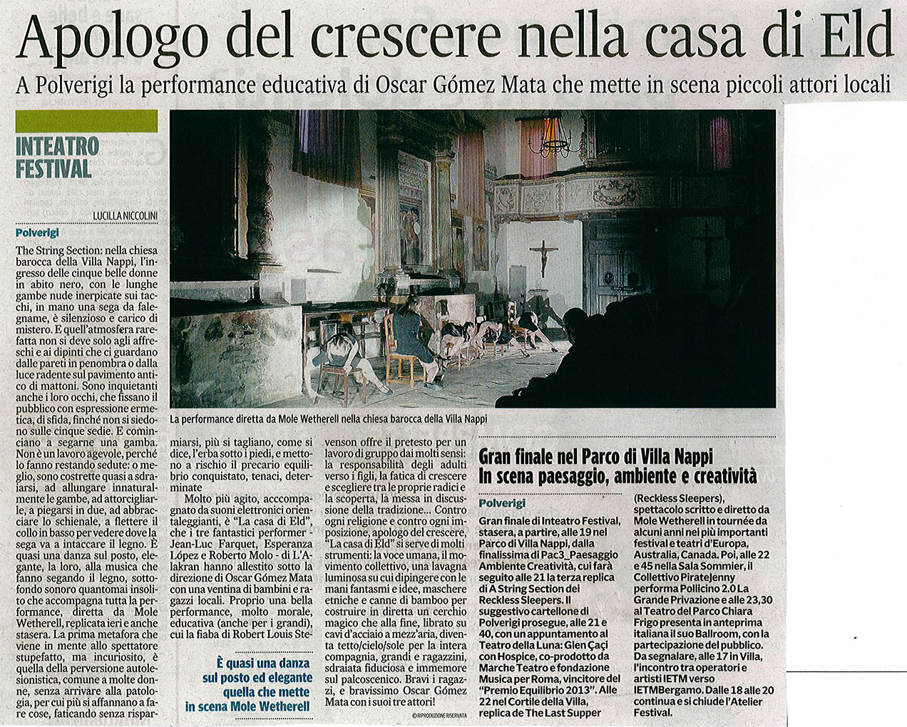 2014.07.05 Apologo del crescere nella casa di Eld - Corriere Adriatico