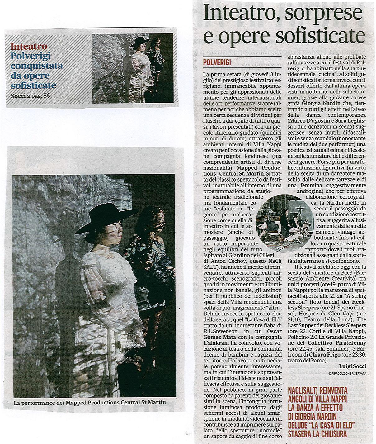 2014.07.05 Inteatro, soprese e opere sofisticate - Il Messaggero