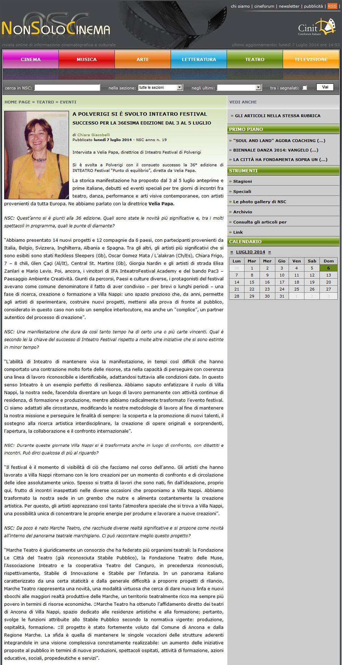 2014.07.07 A Polverigi si è svolto Inteatro Festival - nonsolocinema.com