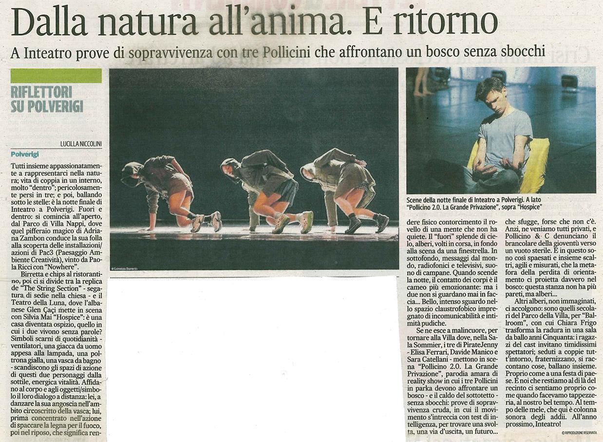2014.07.07 Dalla natura all'anima. E ritorno - Corriere Adriatico