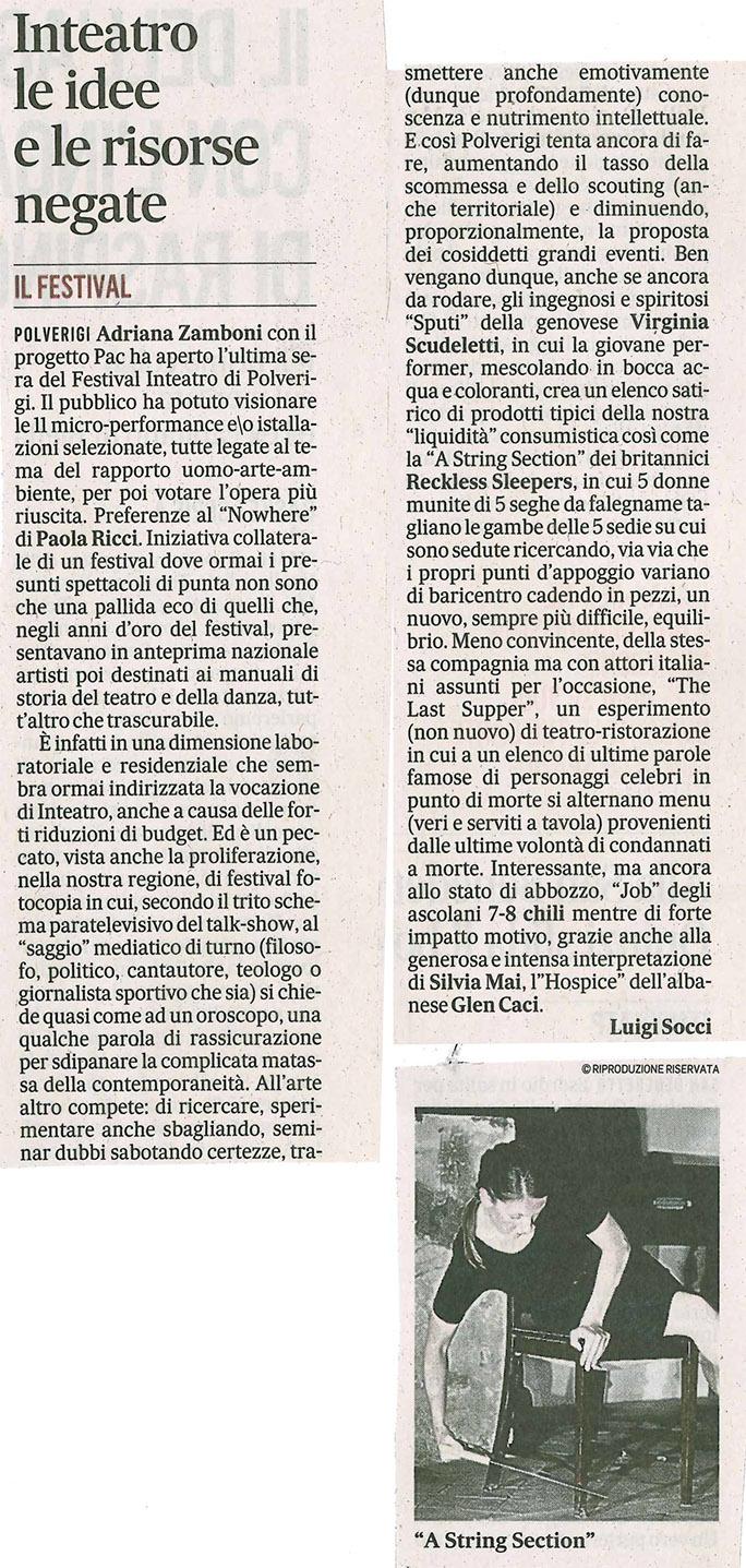 2014.07.07 Inteatro le idee e le risorse negate - Il Messaggero