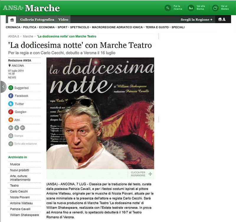 2014.07.07 La dodicesima notte con Marche Teatro - ansa.it