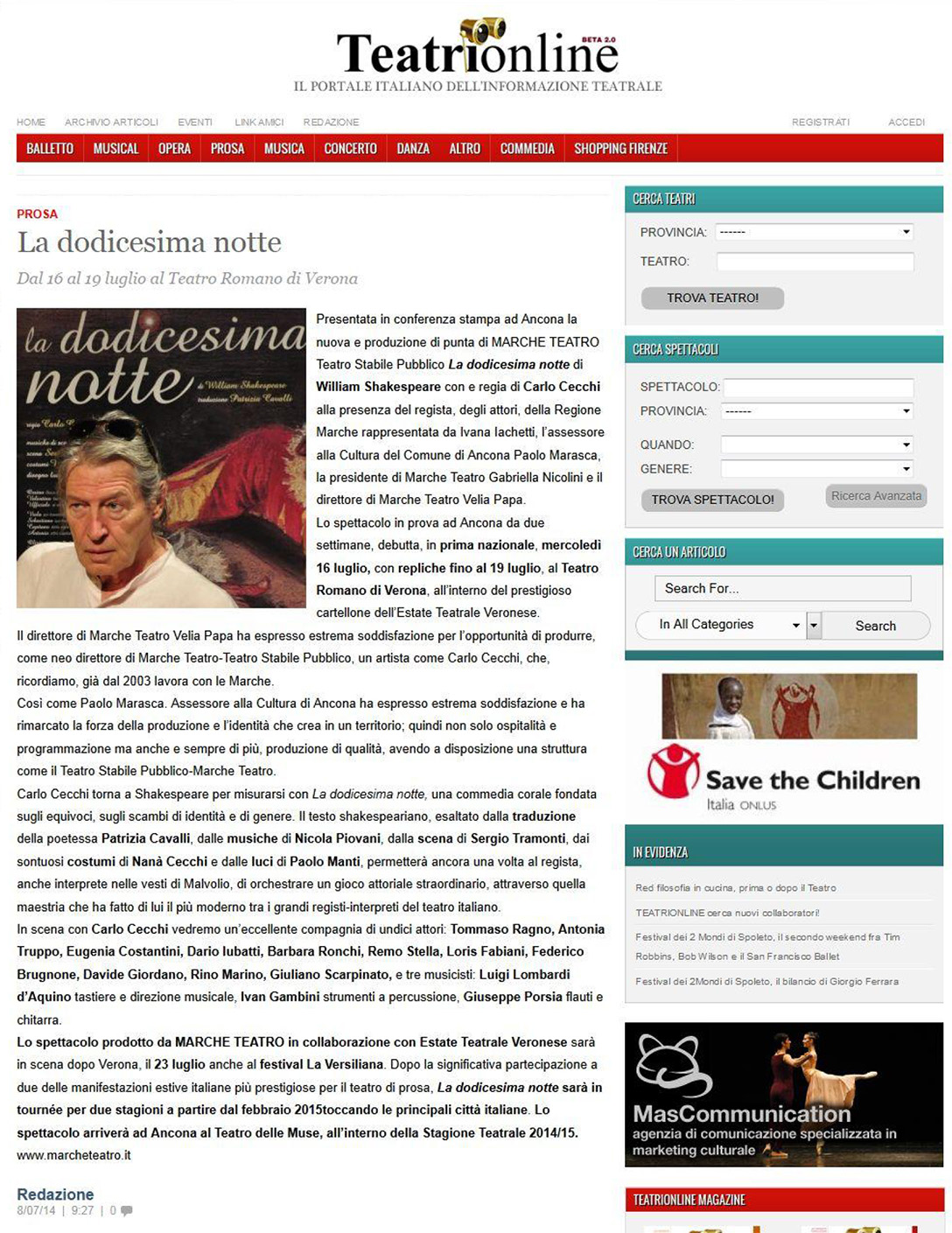 2014.07.08 La dodicesima notte - teatrionline.com
