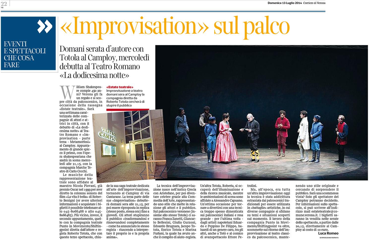 2014.07.13 'Improvisation' sul palco - Corriere di Verona