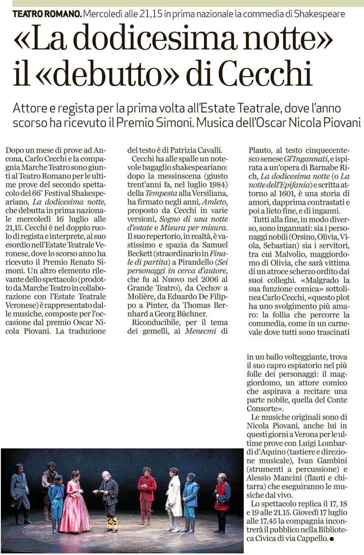 2014.07.13 La dodicesima notte, il 'debutto di Cecchi - L'arena di Verona