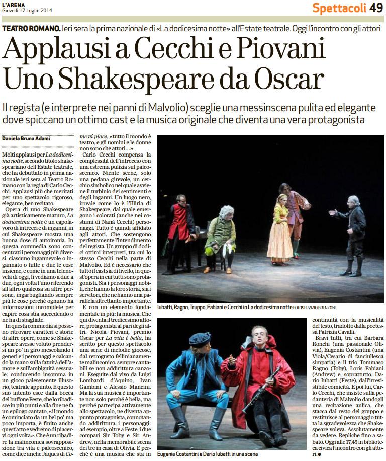 2014.07.17 Applausi per Cecchi e Piovani - Uno Shakespeare da Oscar - Arena di Verona