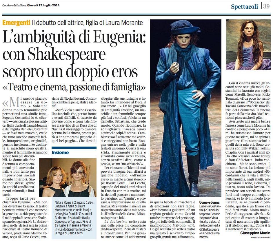 2014.07.17 L'ambiguità di Eugenia con Shakespeare scopro un doppio eros - Corriere della Sera