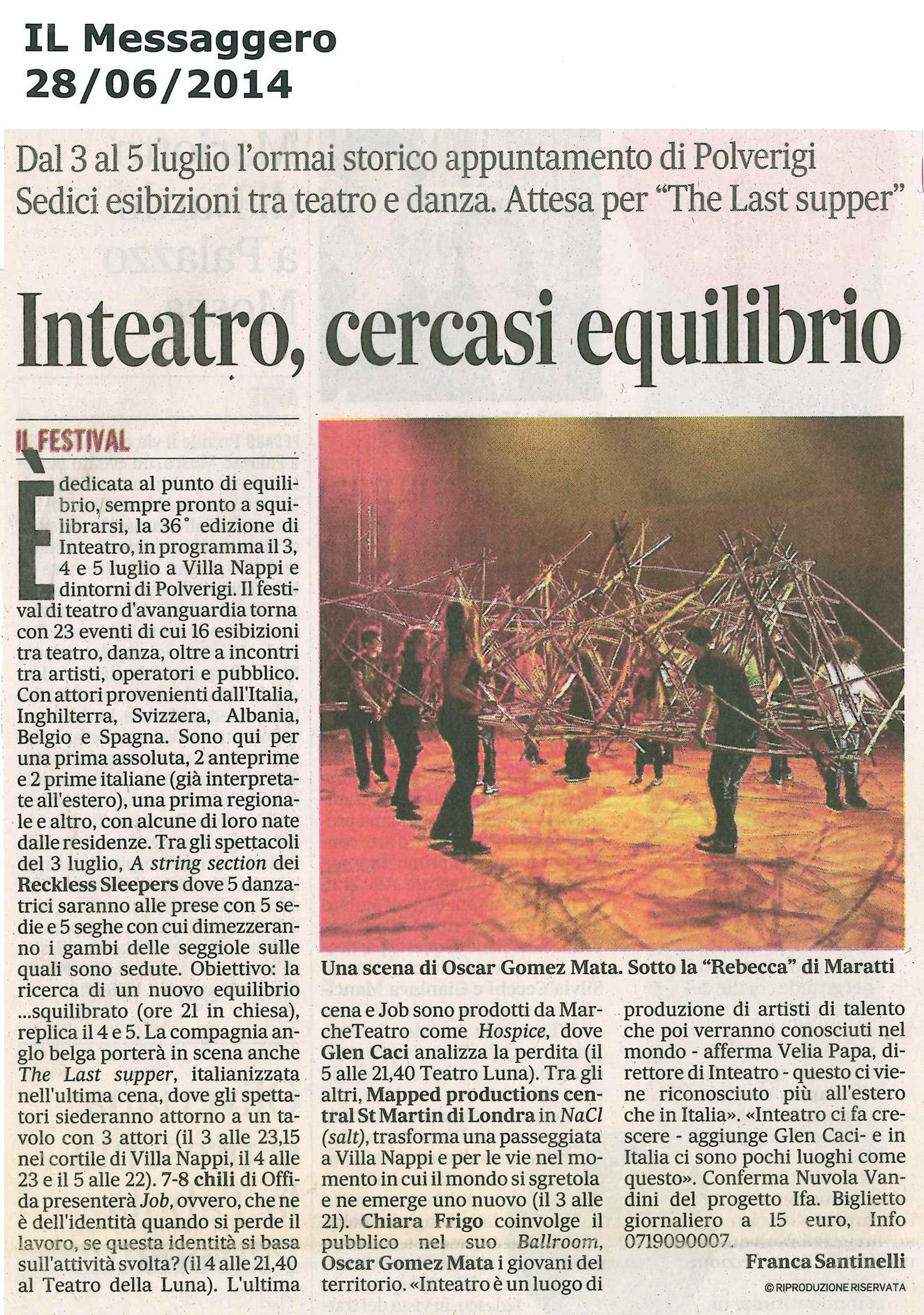 2014.06.28 Inteatro, cercasi equilibrio - Il Messaggero