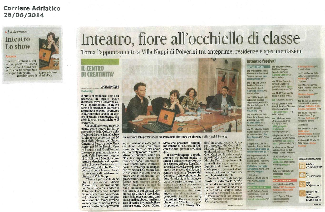 2014.06.28 Inteatro, fiore all'occhiello di classe - Corriere Adriatico