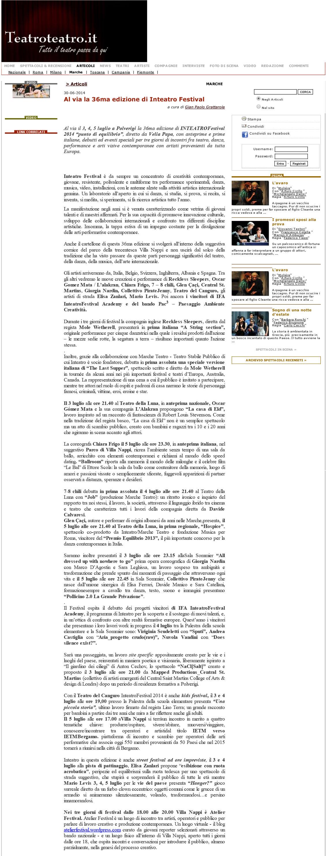 2014.06.30 Al via la 36ma edizione di Inteatro Festival - teatroteatro.it